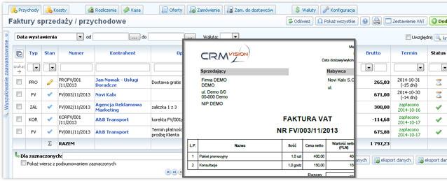 Możliwości CRM Vision