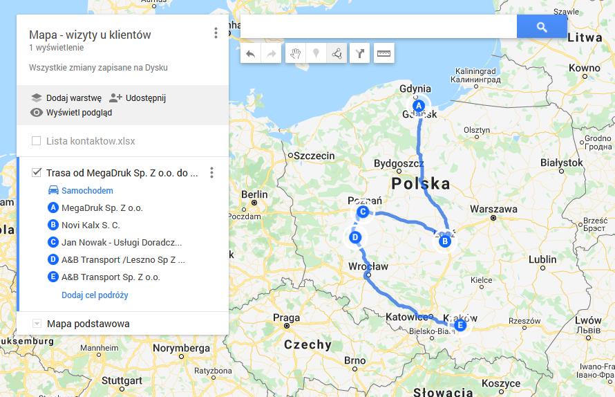 Jak szybko wyznaczyć optymalną trasę dla handlowca? Mapa trasy handlowca. Planowanie punktów na trasie do klientów.