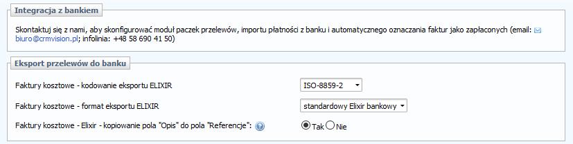 Integracja systemu CRM Vision z systemem rozliczeniowym ELIXIR.